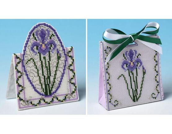 Purple Iris Gift Bag And Card 3D Cross Stitch Kits