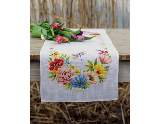 Colourful Flowers Counted Cross Stitch Table Runner Kit