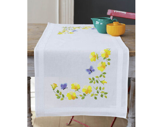 Spring Flowers With Butterflies Embroidery Table Runner Kit