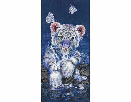 White Baby Tiger Cross Stitch Kit