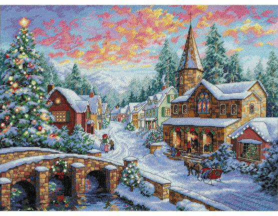 Holiday Village Cross Stitch Kit