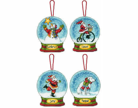 Snow Globe Cross Stitch Ornaments Kit (Set of 4)