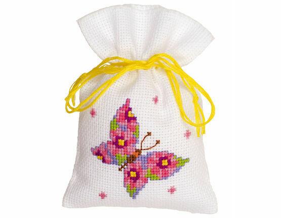 Pink Butterfly Pot Pouri Bag Cross Stitch Kit
