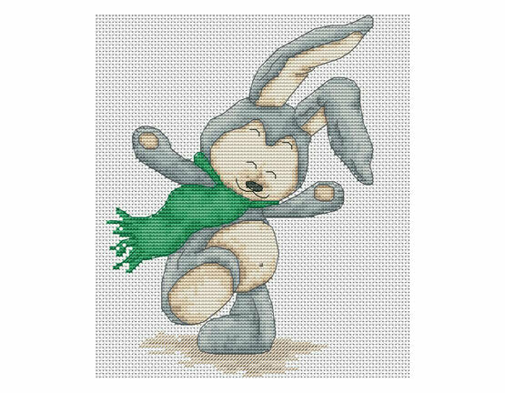 Windy Day Rabbit Cross Stitch Kit