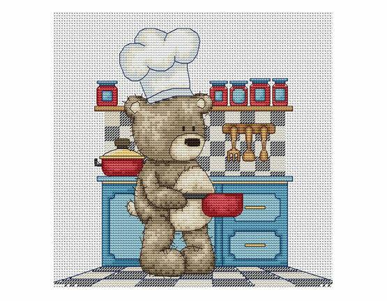 Bruno in The Kitchen Cross Stitch Kit