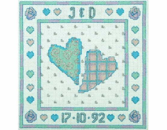 Two Hearts - Silver Anniversary Cross Stitch Kit
