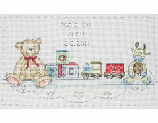 Toy Shelf Birth Sampler Cross Stitch Kit