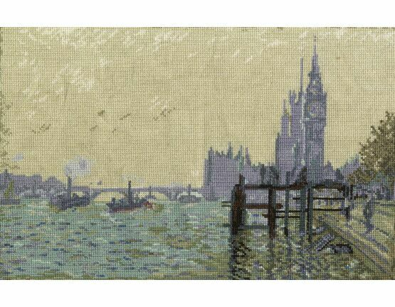 Monet - The Thames Below Westminster Cross Stitch Kit