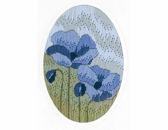 Blue Poppy Long Stitch Card Kit