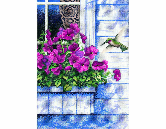 Flowers And Hummingbird Cross Stitch Kit