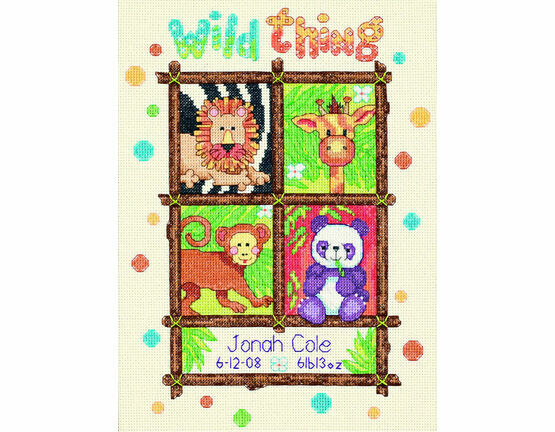 Wild Thing Birth Record Cross Stitch Kit