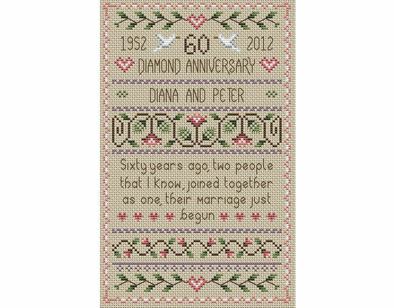 Diamond Wedding Anniversary Cross Stitch Kit