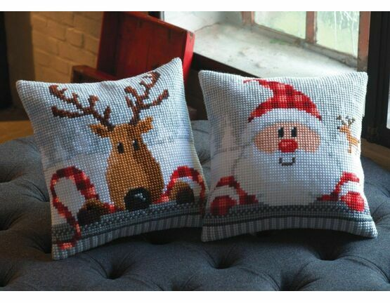 Set Of 2 Chunky Cross Stitch Christmas Cushion Kits