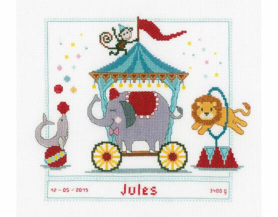 Circus Birth Sampler Cross Stitch Kit
