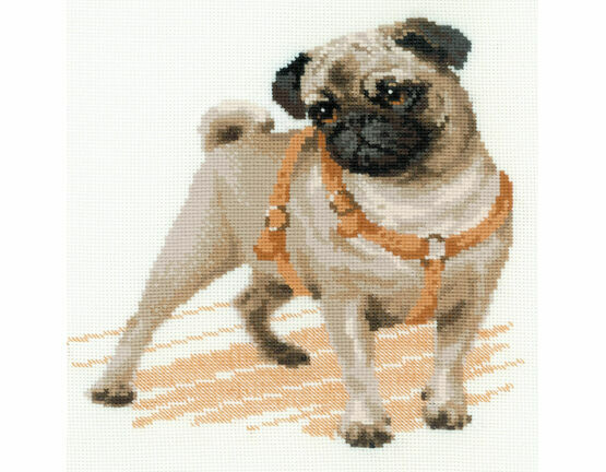 Pug Dog Cross Stitch Kit