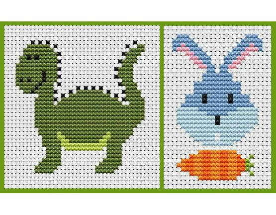 Sew Simple Set Of 2 Cross Stitch Kits - Dinosaur & Bunny Head