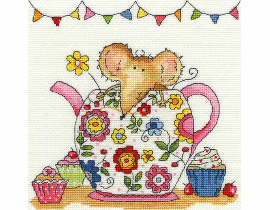 Teapot Mouse Cross Stitch Kit