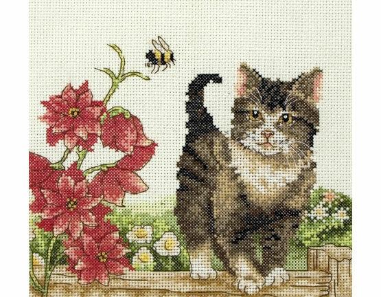 Cat With Flowers Cross Stitch Kit