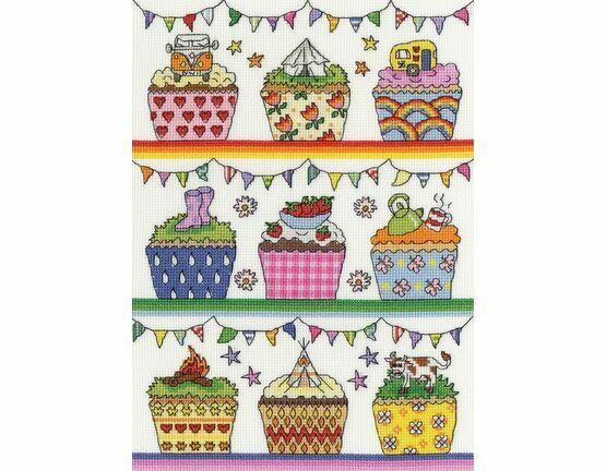 Rainbow Cup Cakes Cross Stitch Kit