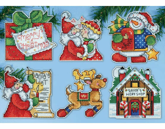 Santa's Workshop Cross Stitch Ornaments Kit (Set of 6)