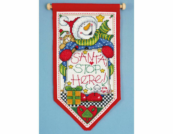 Santa Stop Here Cross Stitch Banner Kit