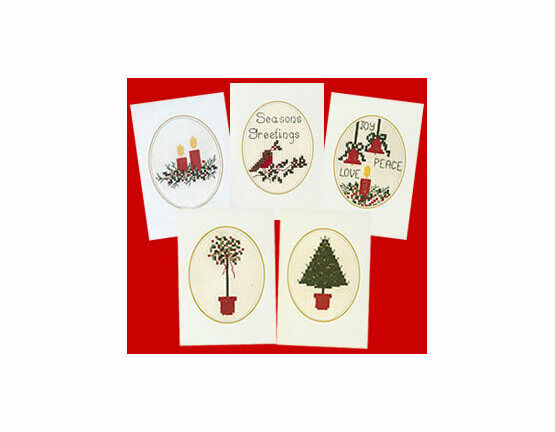 Cross Stitch Christmas Card Kits (Set of 5)