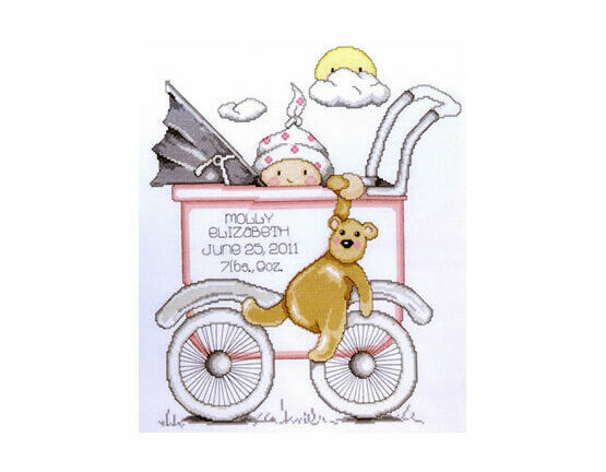 Buggy Girl Birth Sampler Cross Stitch Kit
